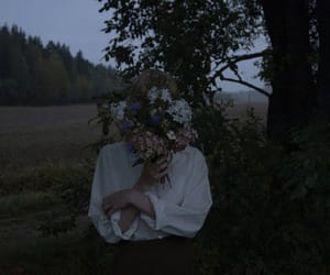 flowers, girl, and dark image
