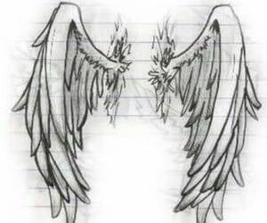 drawing, wings, and angel image