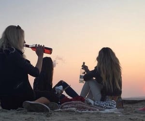 friends, beach, and drink image
