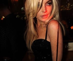 lindsay lohan, blonde, and black and white image