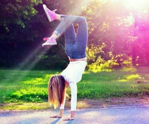 girl, summer, and handstand image