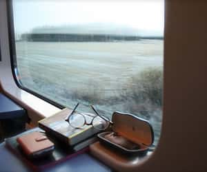 travel, book, and train image