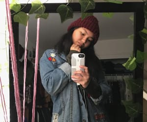 beanie, burgundy, and plants image