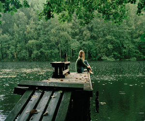girl, lake, and nature image