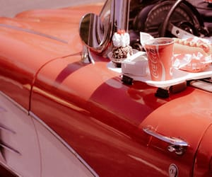 red, vintage, and car image