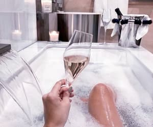 bath, champagne, and drink image