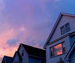 sky, house, and purple image