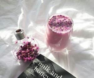 book, flowers, and milk shake image