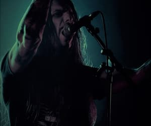 growl, long haired guy, and metalhead image