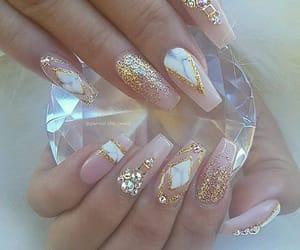 nails, diamond, and gold image