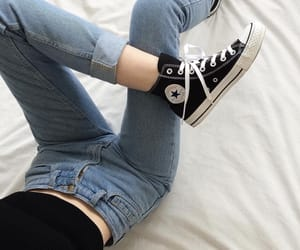 converse, jeans, and black image