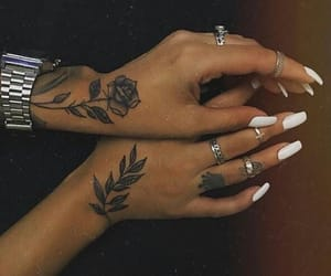 hands, Tattoos, and white nails image