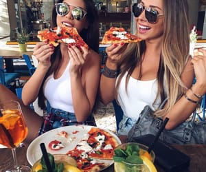 pizza, girls, and food image