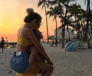 beach, friends, and sunset image
