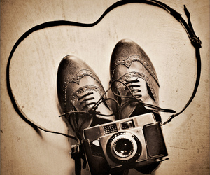 camera, sepia, and shoes image