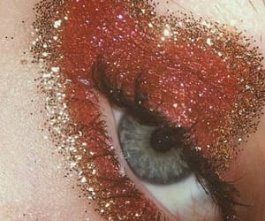 red, glitter, and makeup image