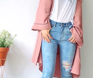 white t-shirts, light blue ripped jeans, and long pink jackets image