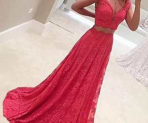 red dress, lace prom dress, and two piece dress image