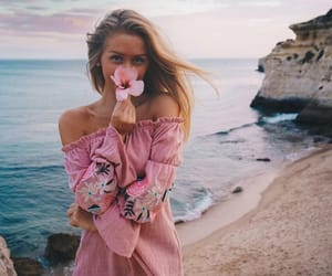 girl, ocean, and pink image