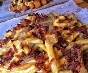 food, cheese, and bacon image