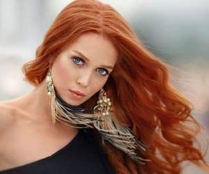 blue eyes redhead, redhead black dress, and boho earings image