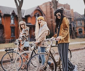 travel, friends, and bicycle image