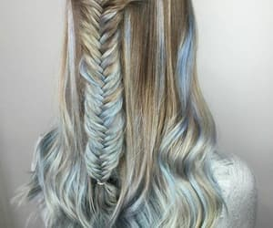blonde, blue hair, and braids image