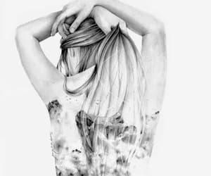 black and white, illustration, and girl illustration image