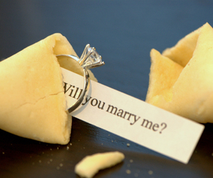 ring, proposal, and fortune cookie image