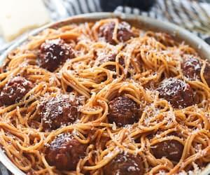 food, meatballs, and spaghetti image