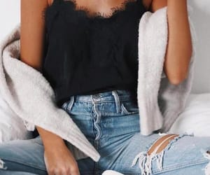 chic, jeans, and top image