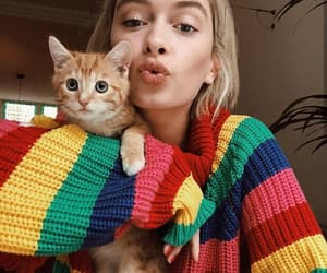 cat and girls image