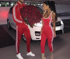 couple, rose, and red image