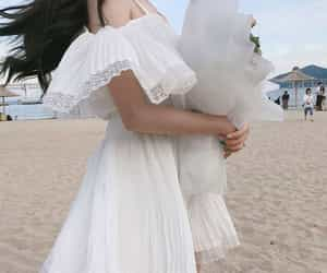 white, beach, and dress image