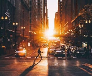 buildings, street, and sunset image