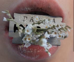 flowers, glitter, and lips image