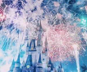 disney, fireworks, and disneyland image