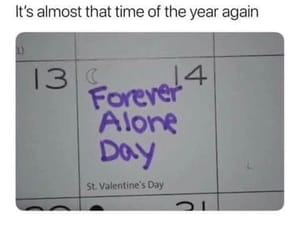 alone, funny, and Valentine's Day image