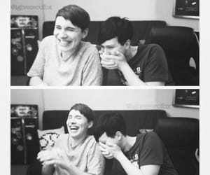 black and white, happy, and laugh image