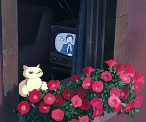 cat, flowers, and gif image