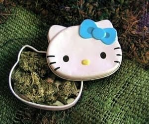 hello kitty, weed, and marijuana image