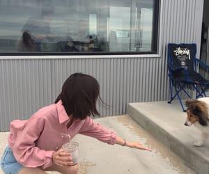 dog, girl, and kfashion image