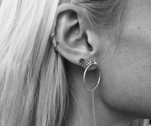 black, earrings, and black and white image
