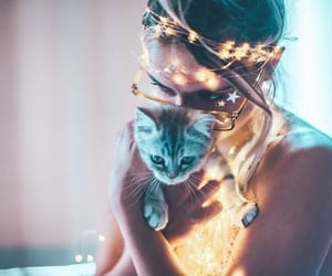 cat, girl, and light image