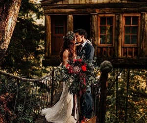 cabin, couple, and kiss image