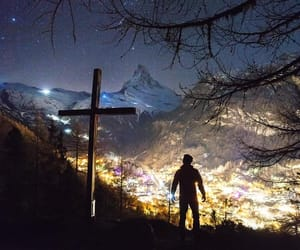 crosses, lights, and mountains image