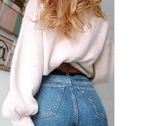 wavy blonde hair, white sweatshirts, and blue high waisted jeans image