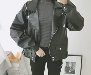 fashion, leather, and oversize image