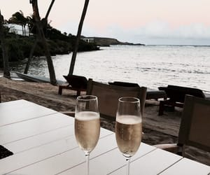 sea, champagne, and drink image