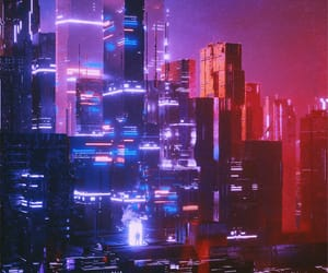 blue, city, and futurist image
